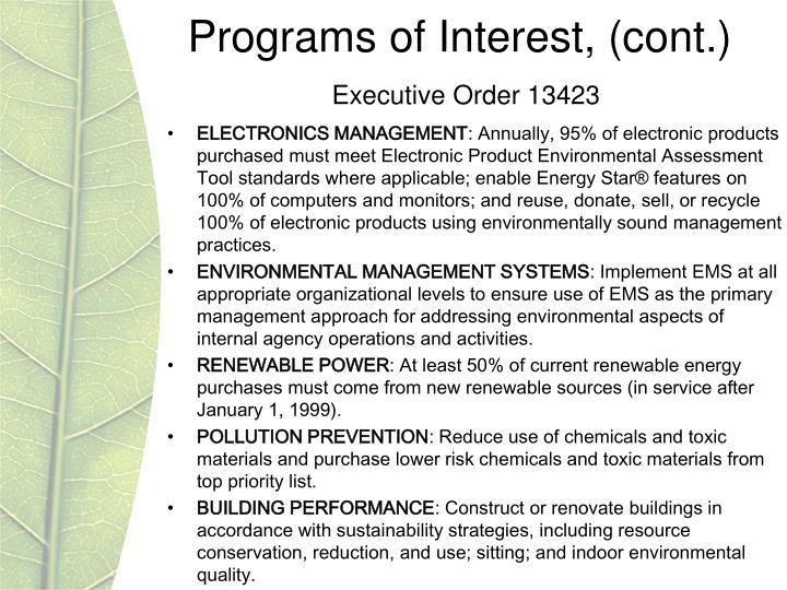 Programs of Interest, (cont.)