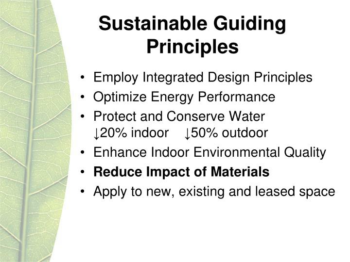 Sustainable Guiding Principles