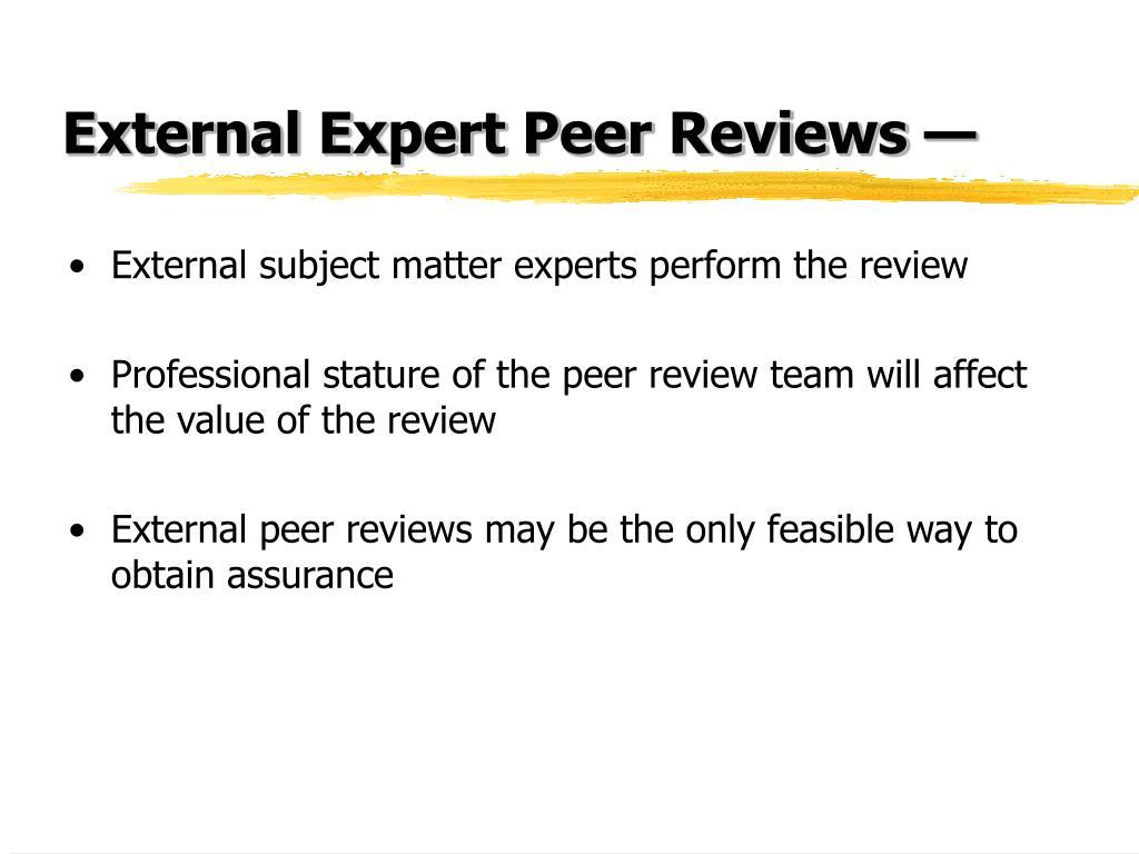 External Expert Peer Reviews