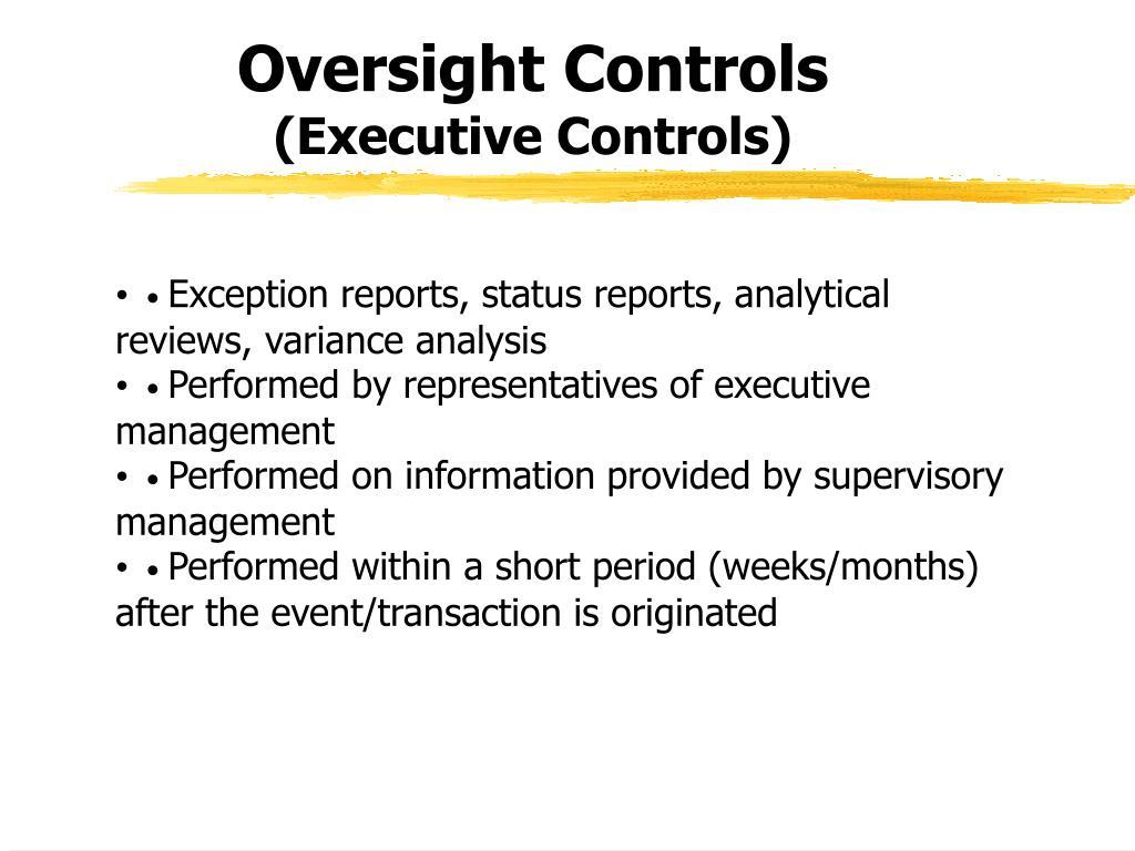 Oversight Controls