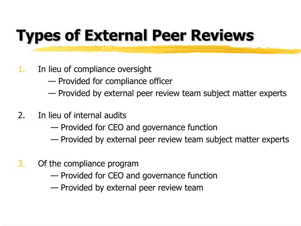 Types of External Peer Reviews