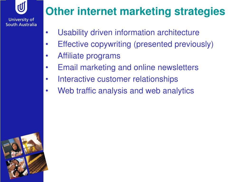 Other internet marketing strategies