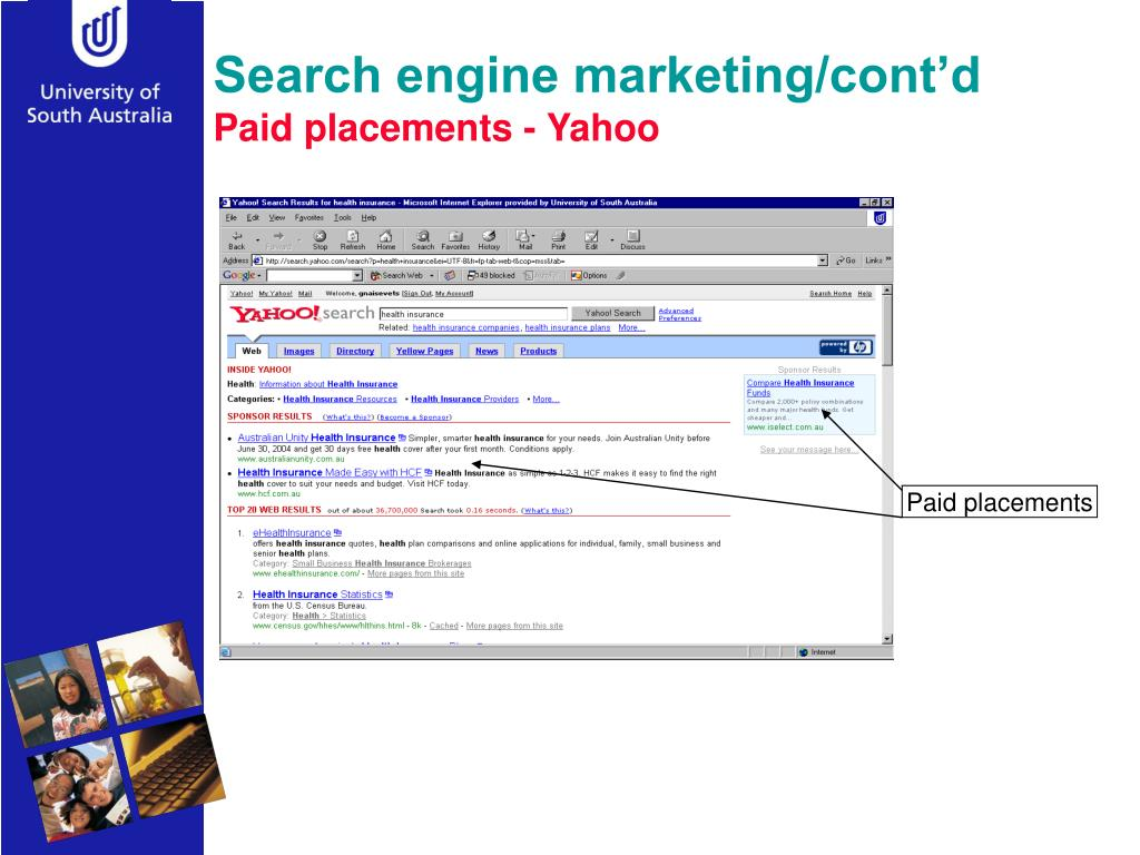 Search engine marketing/cont'd