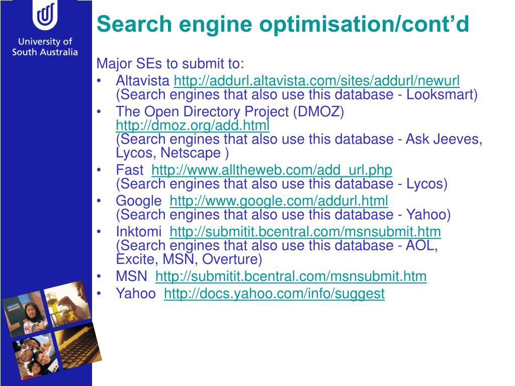 Search engine optimisation/cont'd