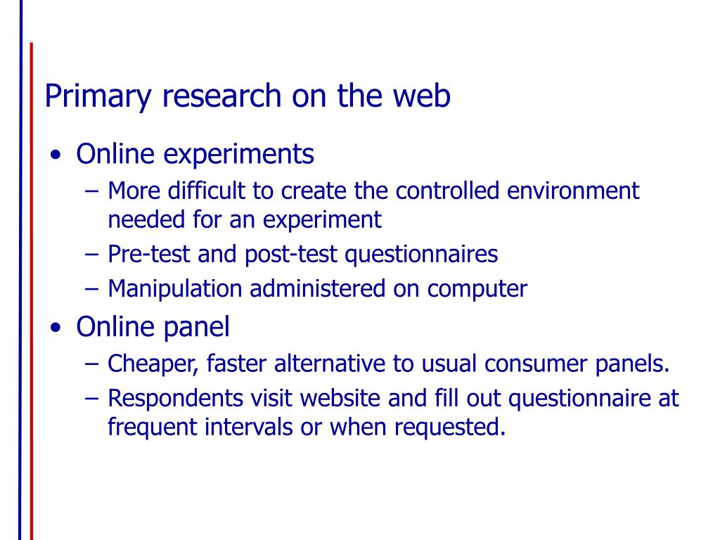 Primary research on the web