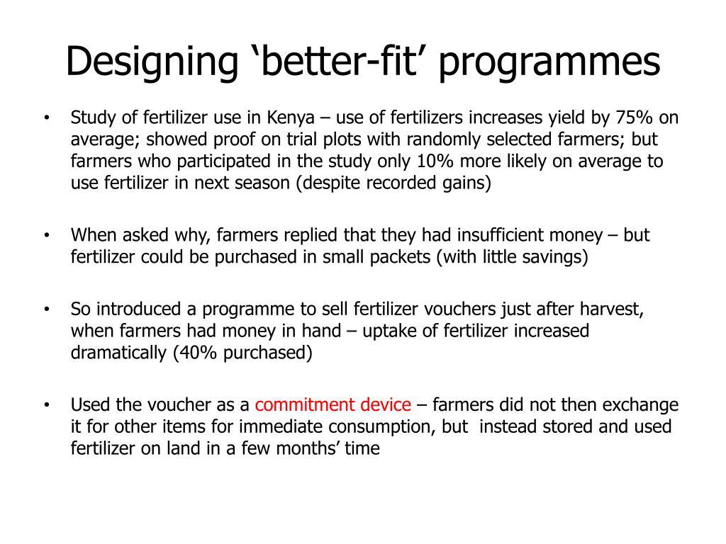 Designing 'better-fit' programmes