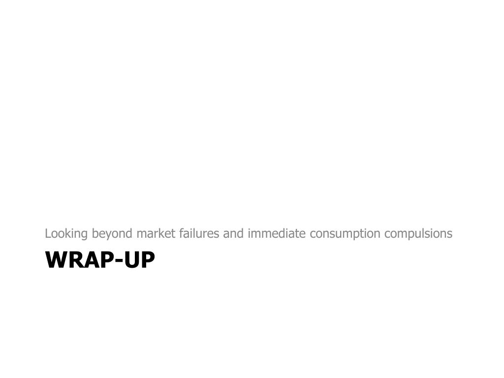 Looking beyond market failures and immediate consumption compulsions
