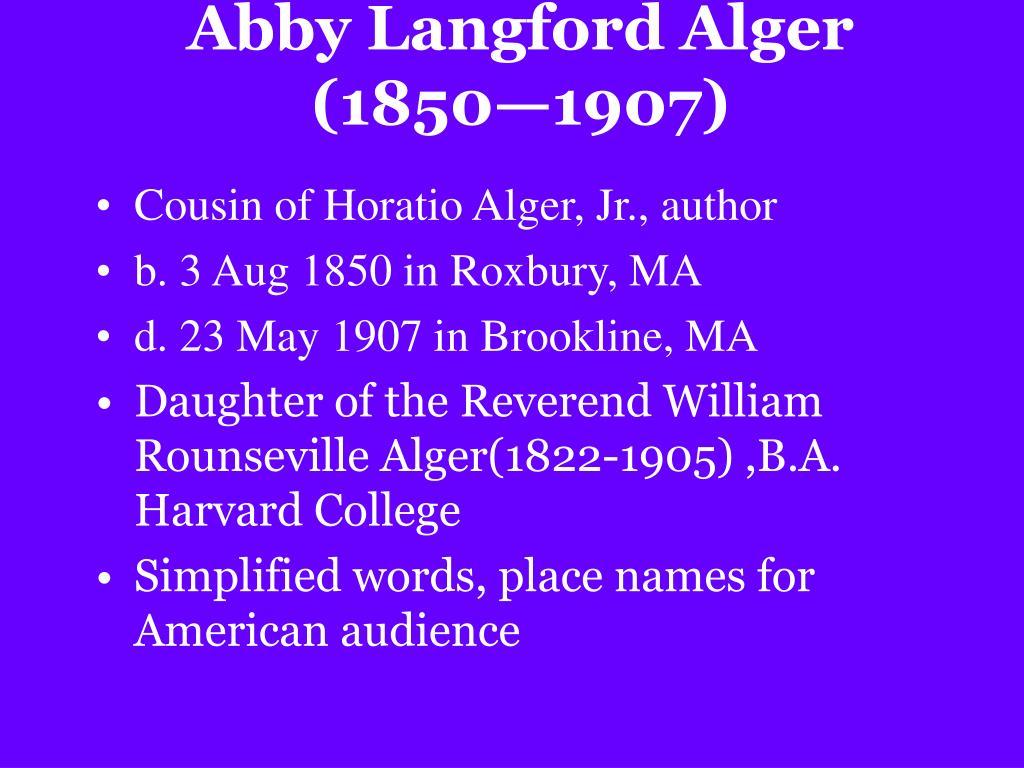 Abby Langford Alger (1850—1907)
