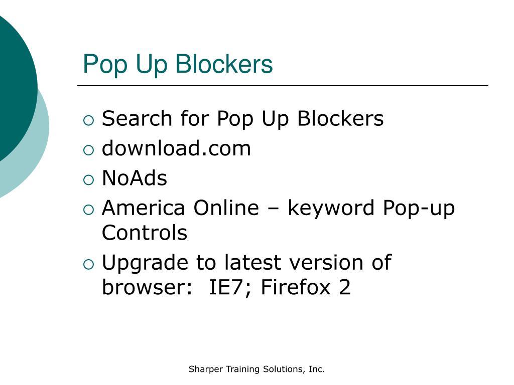 Pop Up Blockers