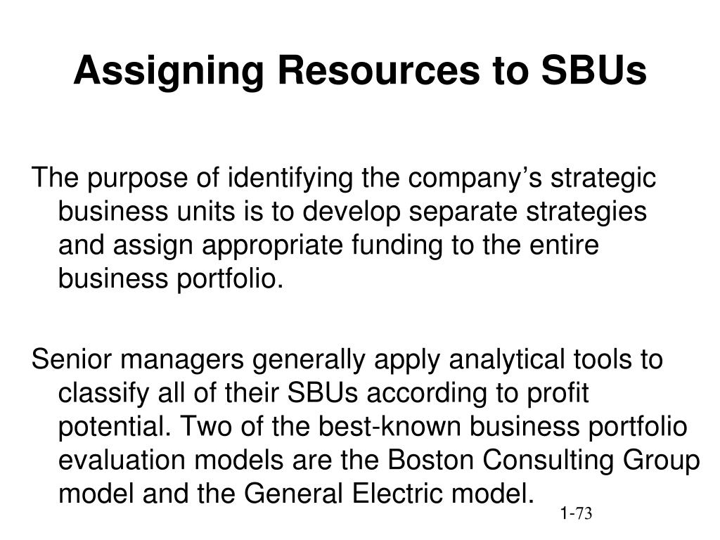 Assigning Resources to SBUs
