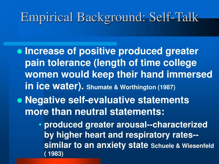 Empirical Background: Self-Talk