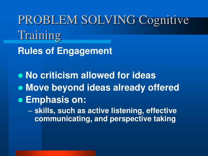 PROBLEM SOLVING Cognitive Training