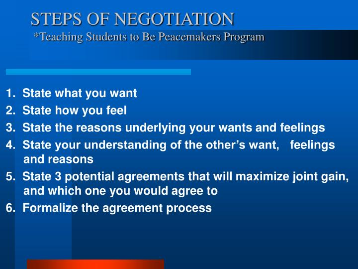 STEPS OF NEGOTIATION