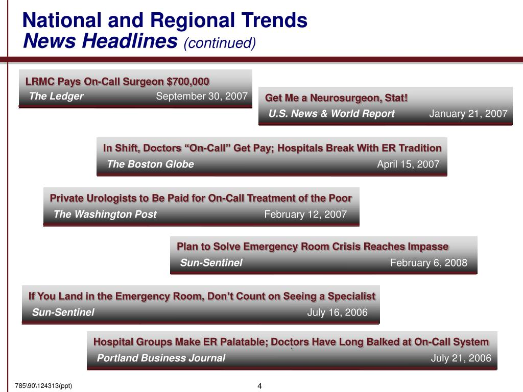 National and Regional Trends