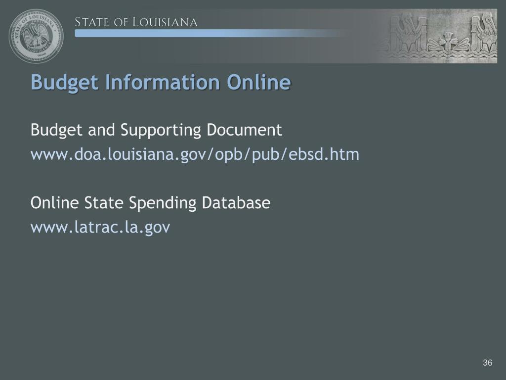 Budget Information Online