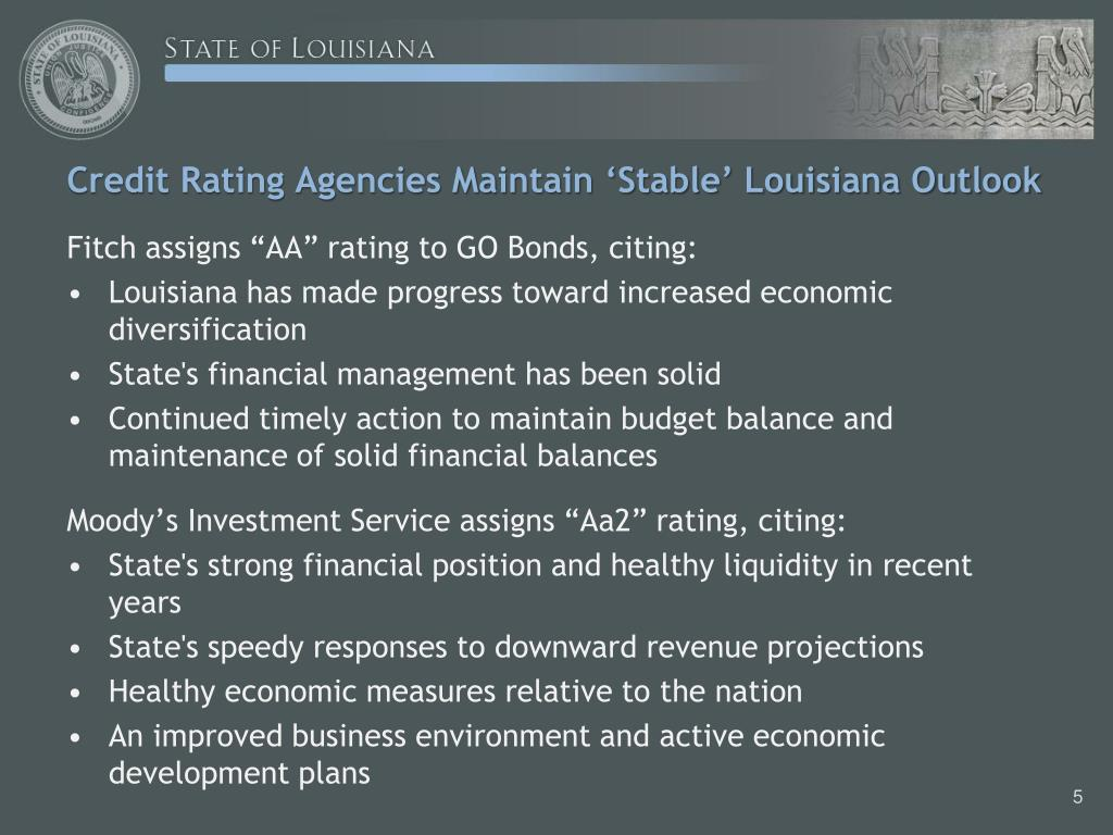 Credit Rating Agencies Maintain 'Stable' Louisiana Outlook