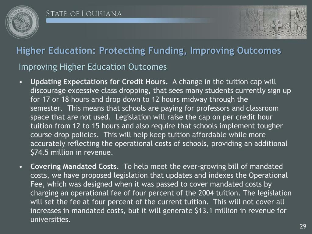 Higher Education: Protecting Funding, Improving Outcomes
