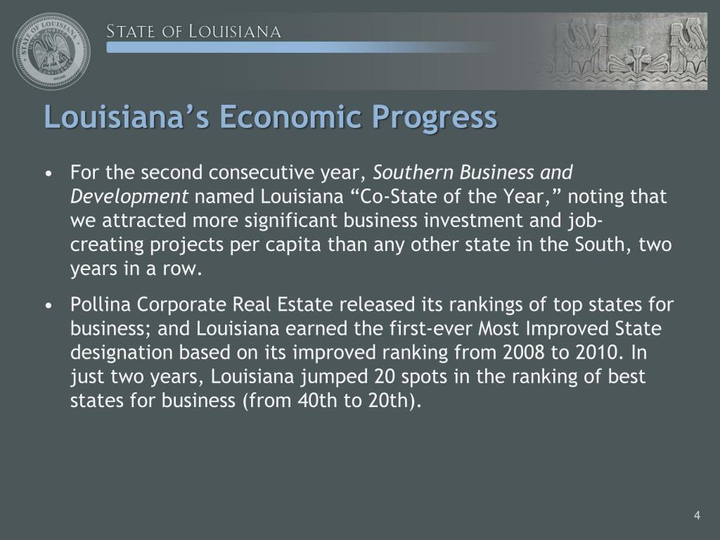 Louisiana's Economic Progress