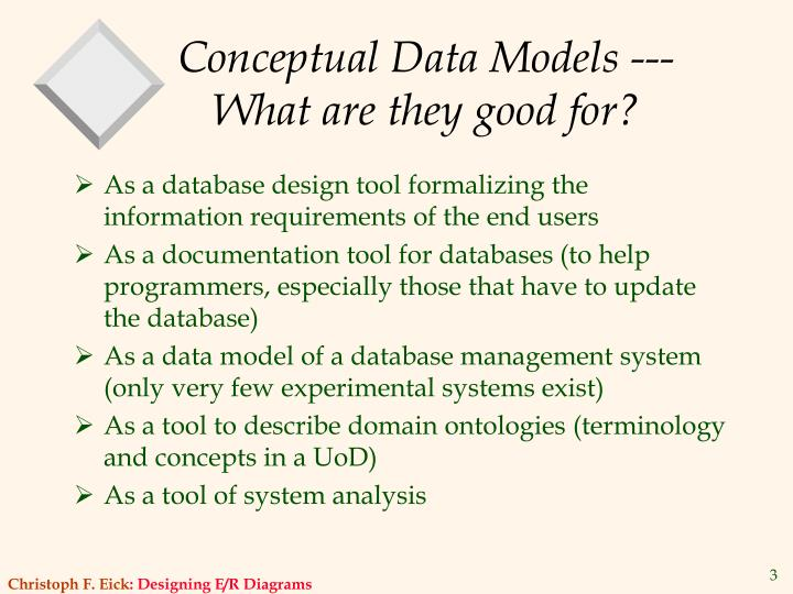 Conceptual data models what are they good for