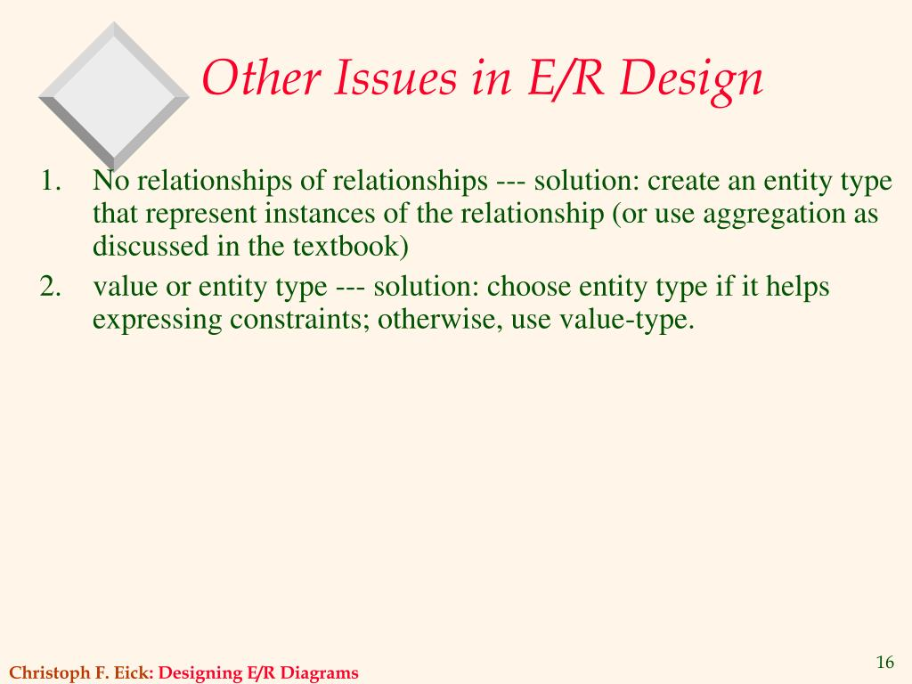 Other Issues in E/R Design