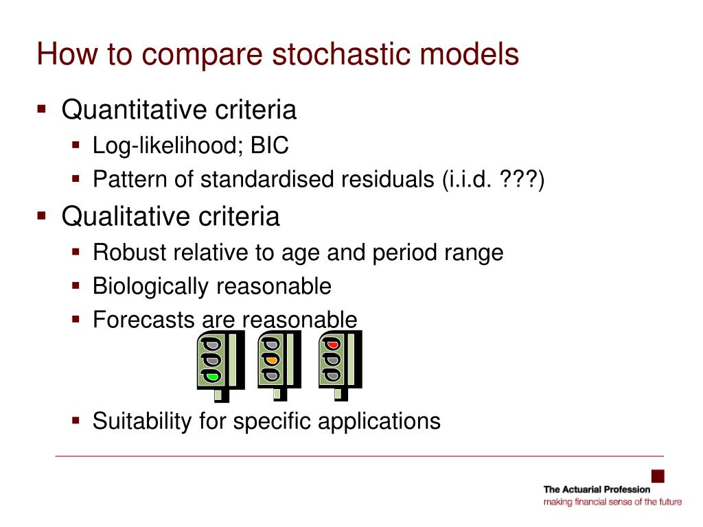 How to compare stochastic models