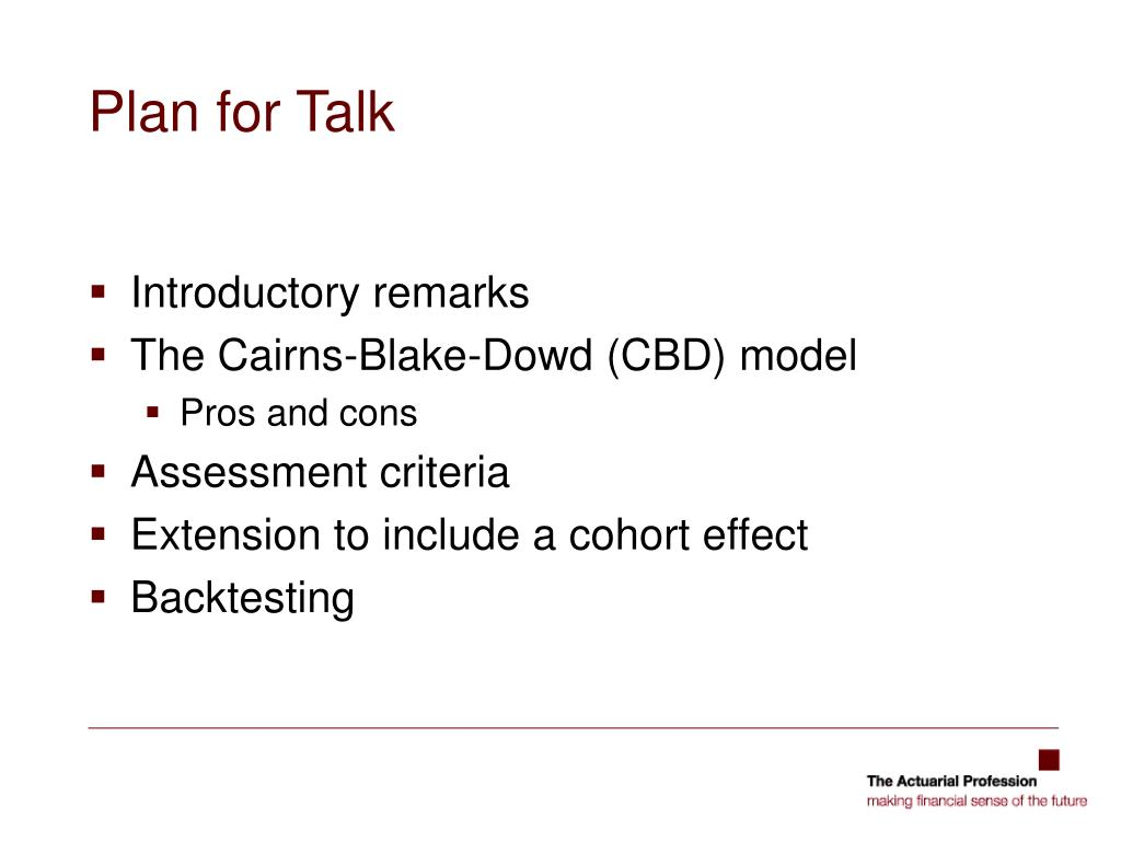 Plan for Talk