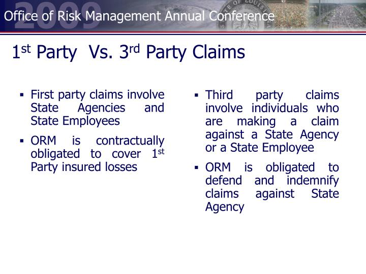 First party claims involve State Agencies and State Employees