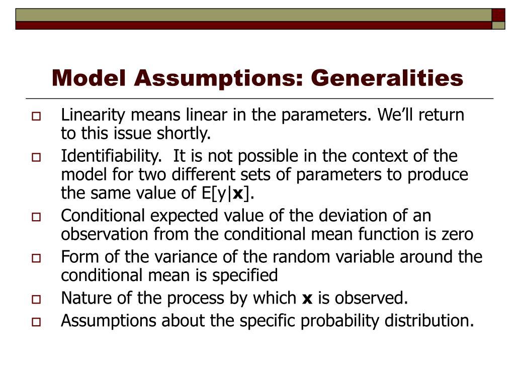 Model Assumptions: Generalities