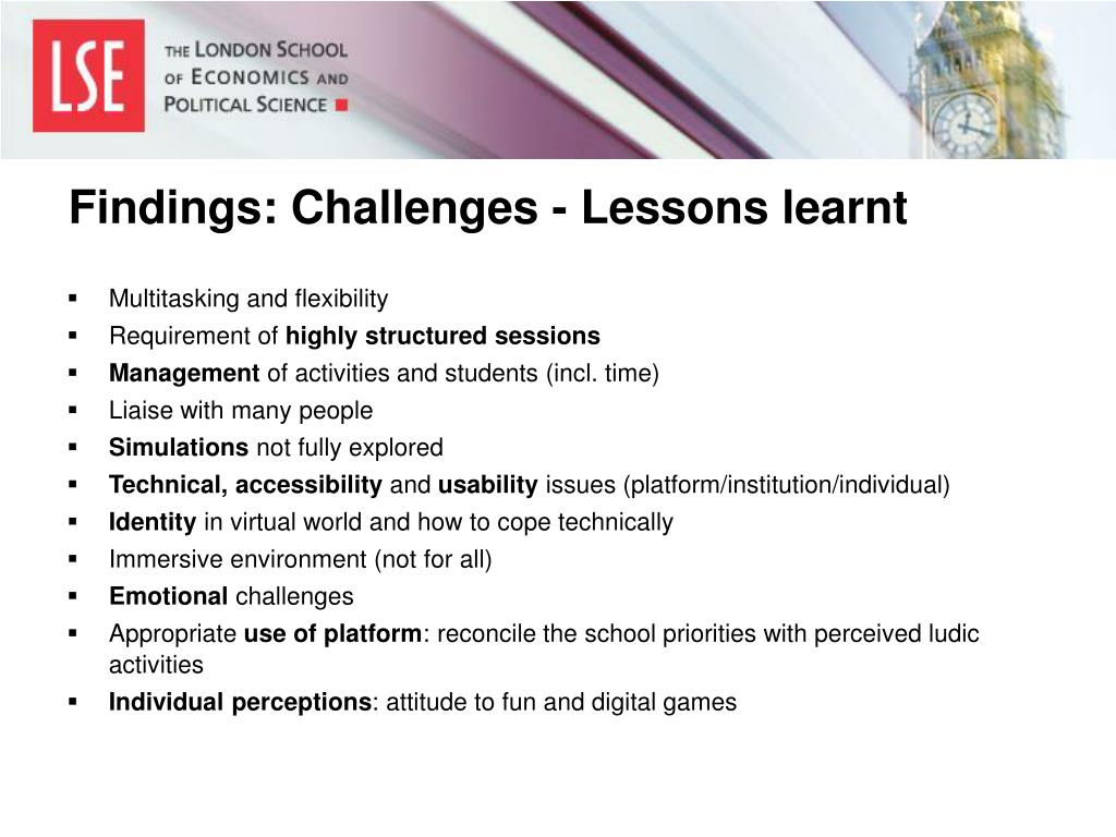 Findings: Challenges - Lessons learnt