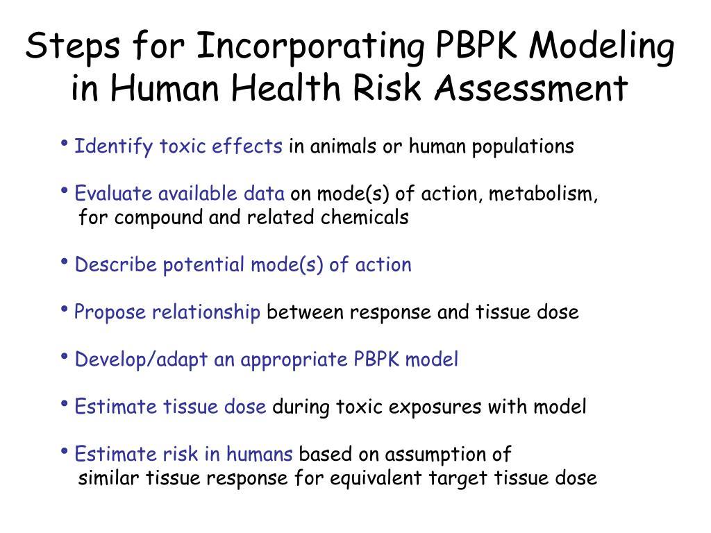 Steps for Incorporating PBPK Modeling in Human Health Risk Assessment