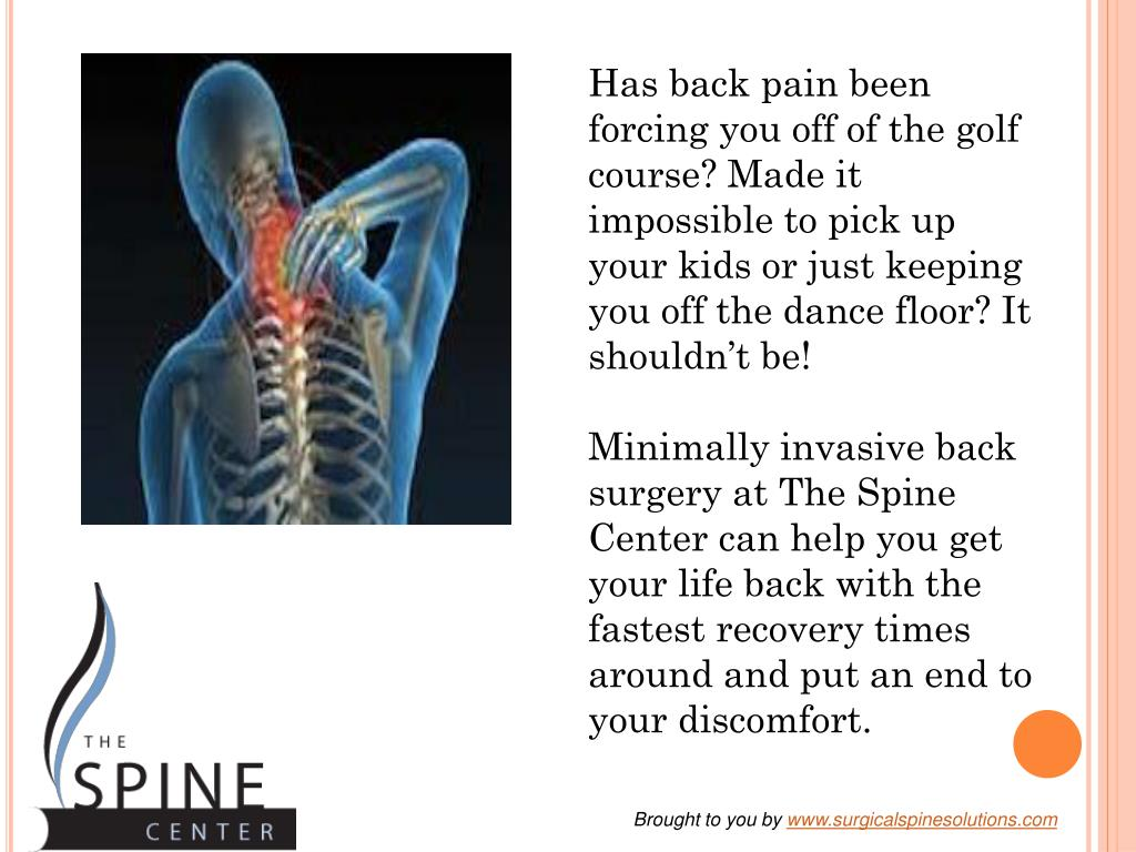 Has back pain been forcing you off of the golf course? Made it impossible to pick up your kids or just keeping you off the dance floor? It shouldn't be!