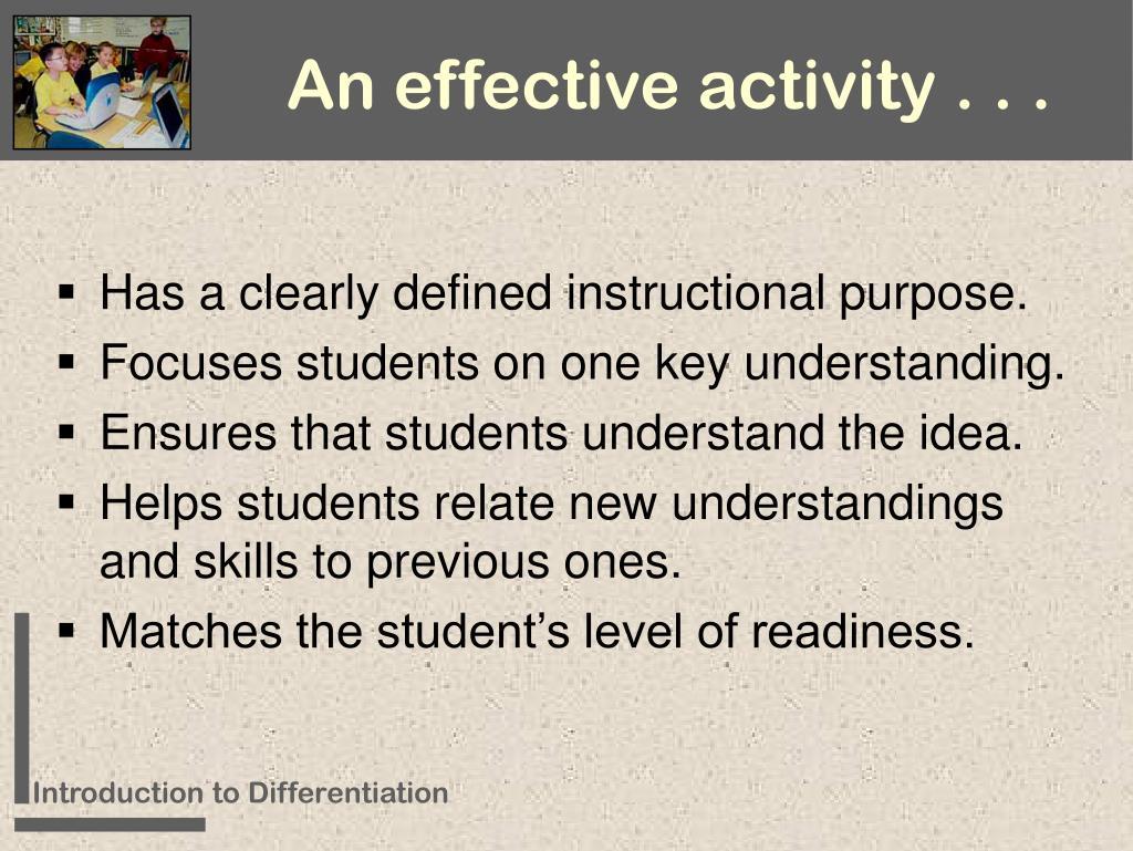 An effective activity . . .