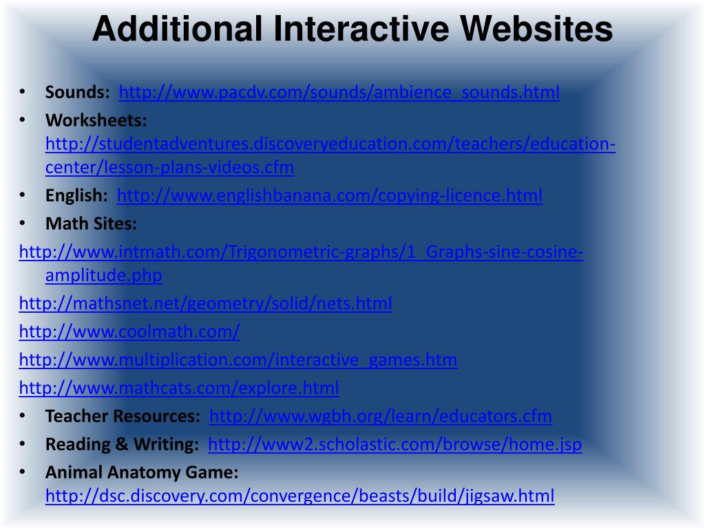 Additional Interactive Websites