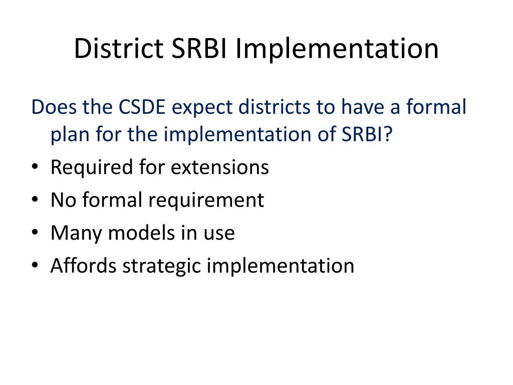District SRBI Implementation