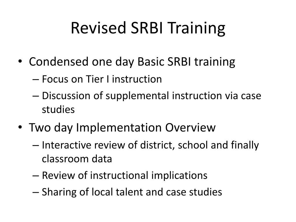 Revised SRBI Training