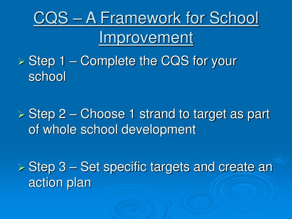 CQS – A Framework for School Improvement