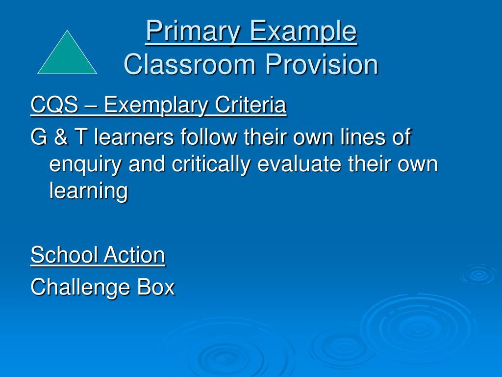 Primary Example