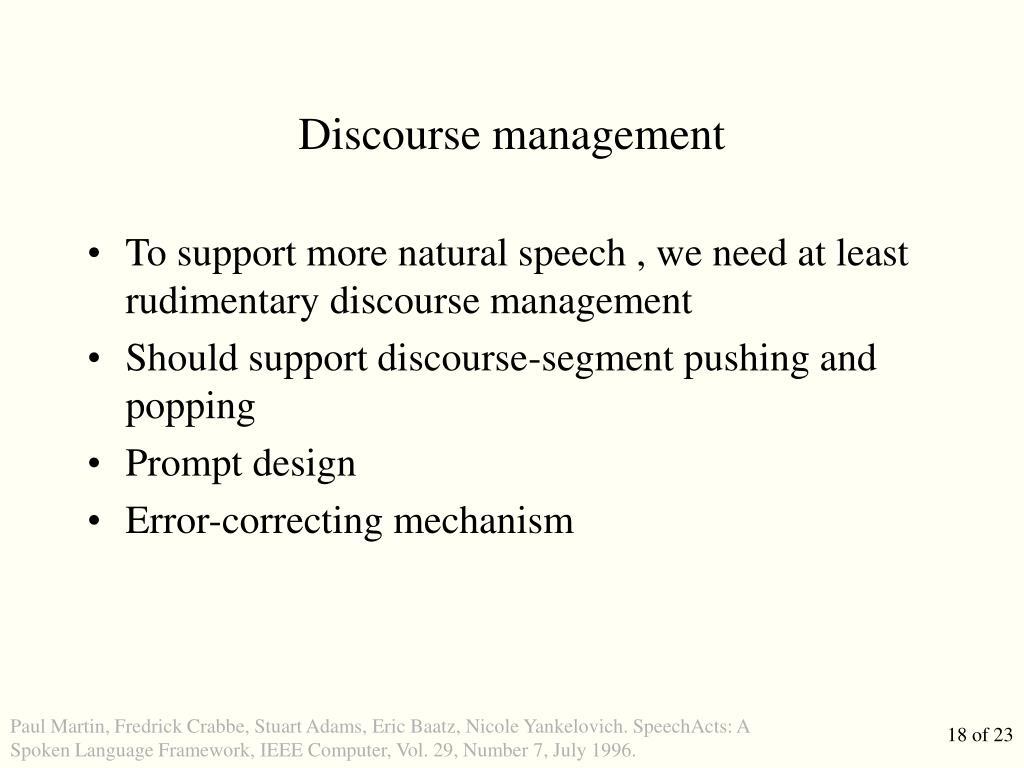 Discourse management