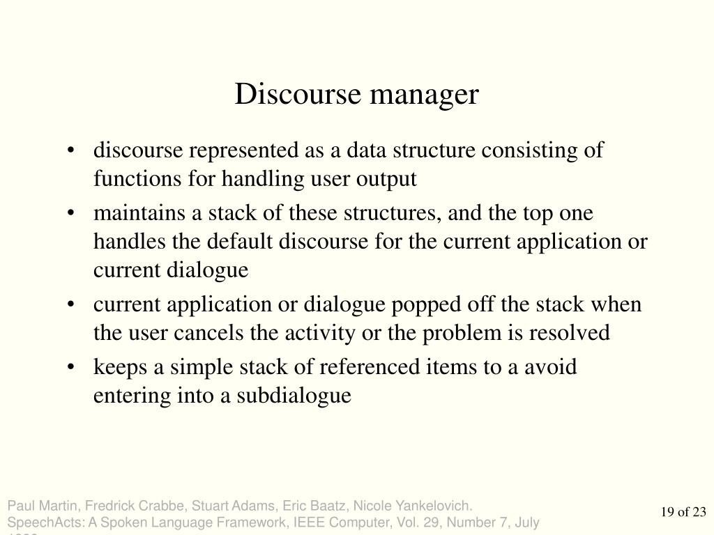 Discourse manager