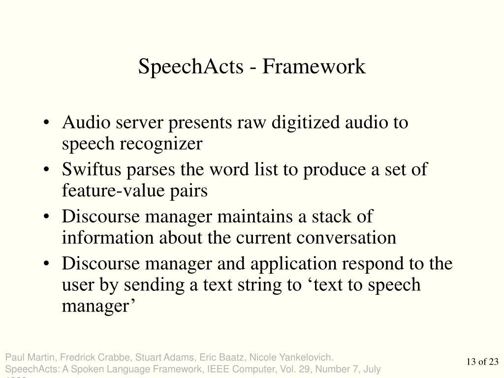 SpeechActs - Framework