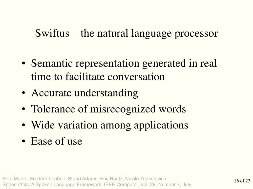 Swiftus – the natural language processor