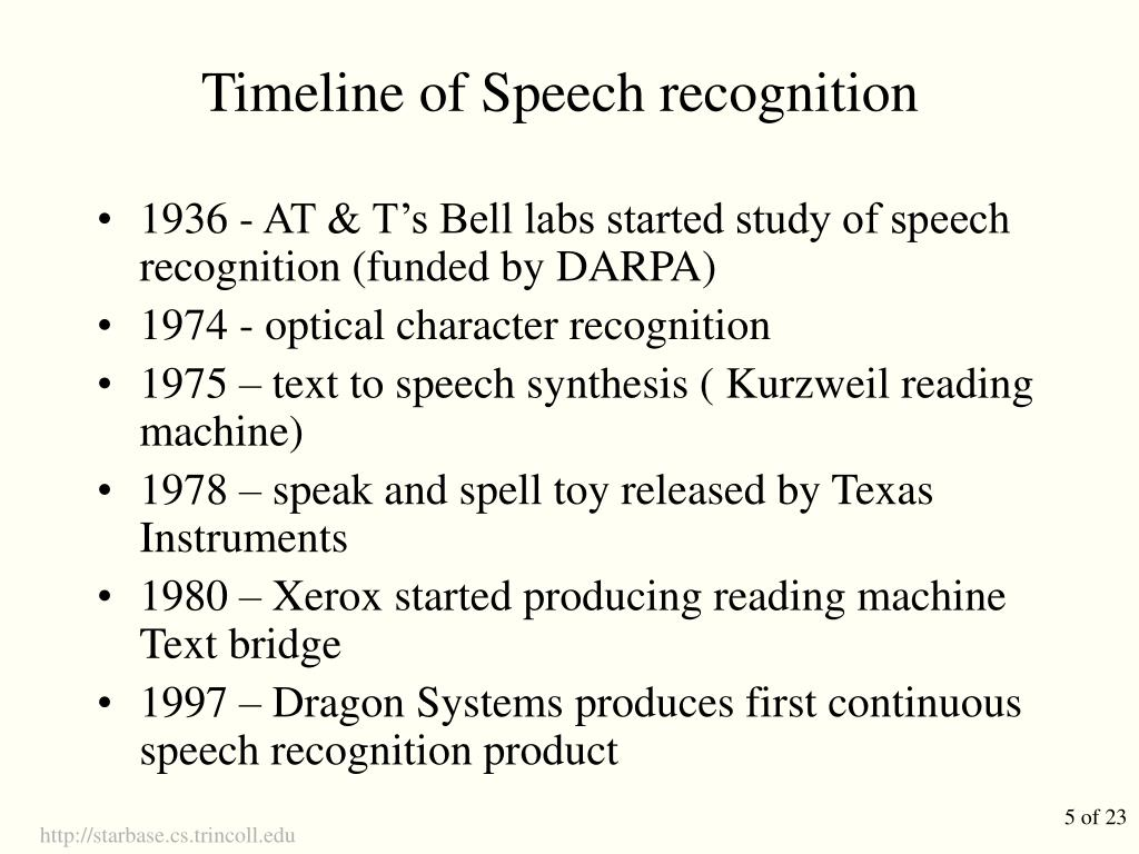 Timeline of Speech recognition