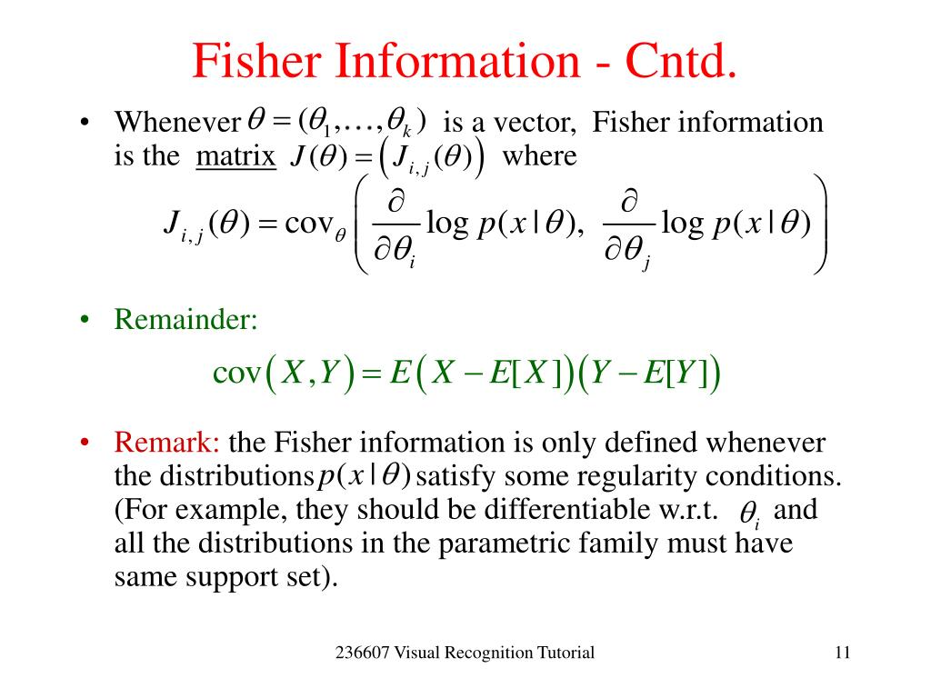 Fisher Information - Cntd.