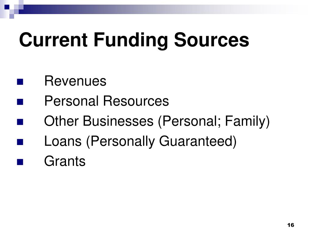 Current Funding Sources