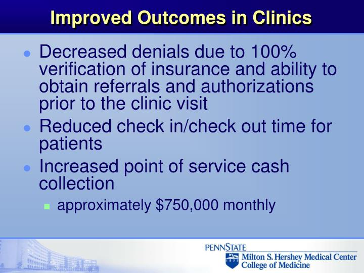 Improved Outcomes in Clinics