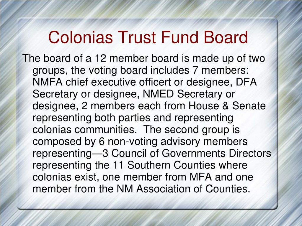 Colonias Trust Fund Board
