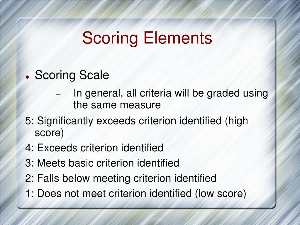 Scoring Elements