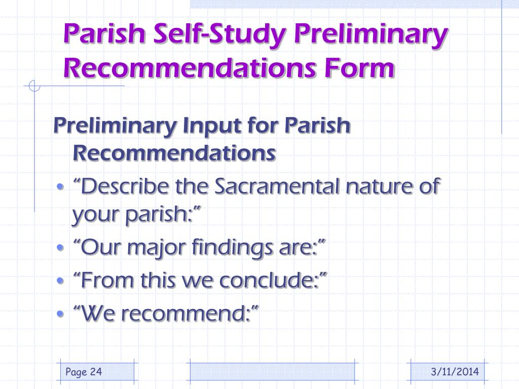Parish Self-Study Preliminary Recommendations Form