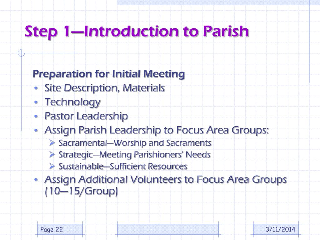 Step 1—Introduction to Parish