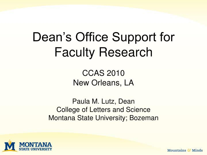 Dean's Office Support for Faculty Research